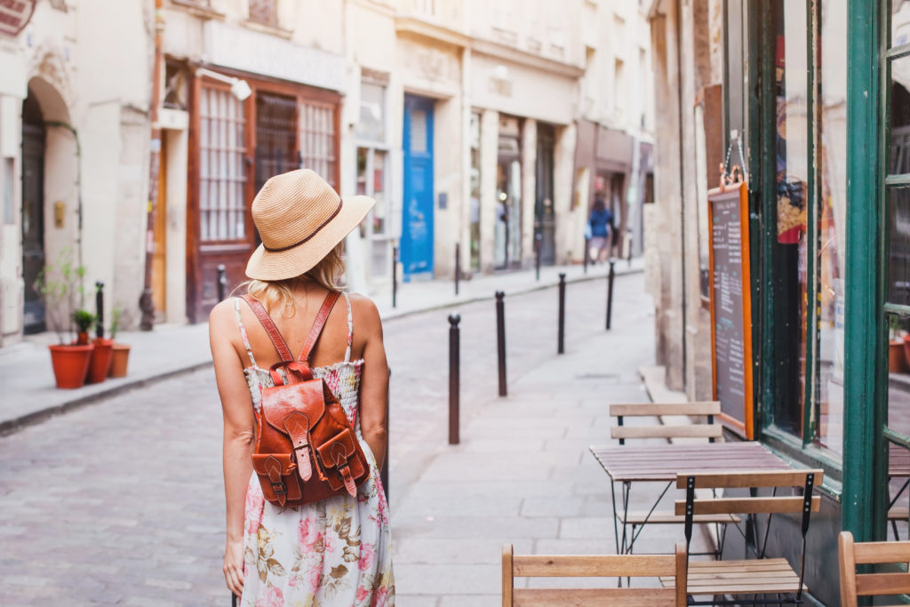 woman tourist on the street traveling in Europe