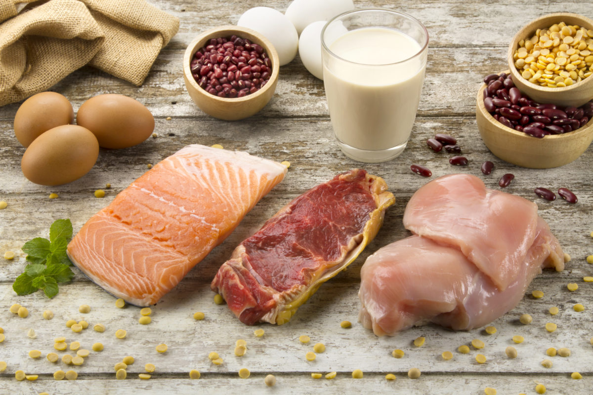Appetizer of protein foods on table