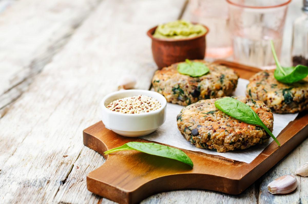 vegan quinoa eggplant spinach chickpeas Burger. toning. selective focus