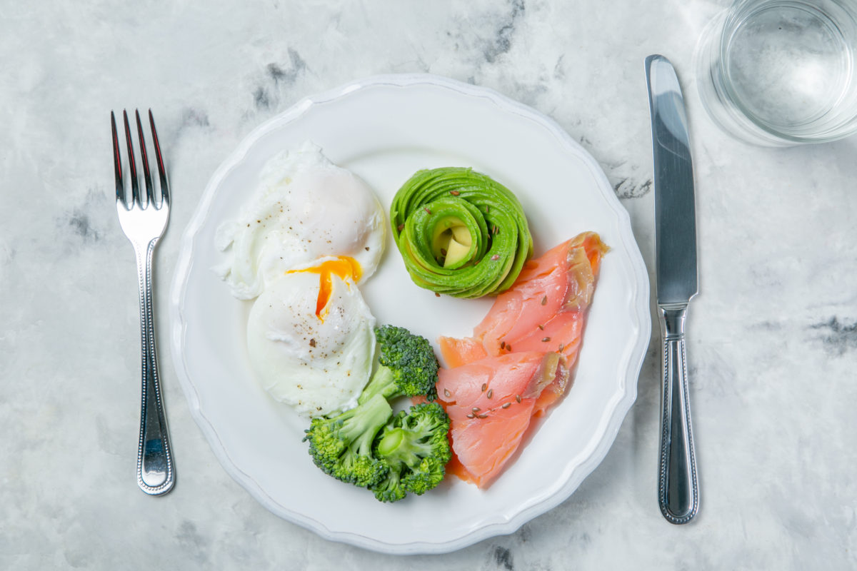 Ketogenic food concept - plate with keto food, top view